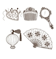 Ladys vintage beauty accessories collection vector image vector image