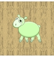 Green cartoon sheep on wood background vector image
