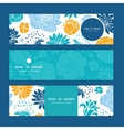 blue and yellow flowersilhouettes vector image vector image