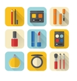 Flat style makeup and cosmetics icons set vector image