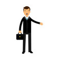 businessman cartoon character in black suit vector image