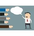 Cartoon businessman with negative feedback vector image