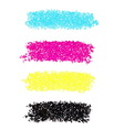 CMYK dotted brush strokes vector image