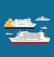 cruise passenger liners set isolated on blue vector image