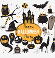 Set Of Vintage Happy Halloween flat icons vector image