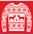 Ugly Christmas jumper or sweater with reindeer and vector image vector image