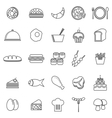 Food line icons on white background vector image