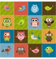 Patchwork background with birds and owls vector image