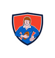 Vintage French Rugby Player Holding Ball Crest vector image