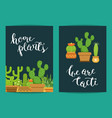 Card template with lettering home plants vector image
