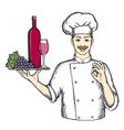 Chef with a tray of wine and grapes vector image