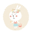 easter bunny with egg and basket vector image
