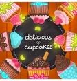 Muffin set Cupcake frame vector image