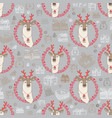 seamless pattern with cute deer and gift vector image