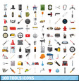 100 tools business icons set cartoon style vector image