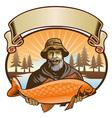 fisherman show his fish vector image vector image