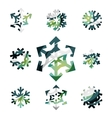 Set of abstract colorful snowflake logo icons vector image