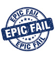 epic fail blue grunge round vintage rubber stamp vector image