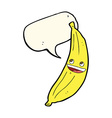 cartoon happy banana with speech bubble vector image