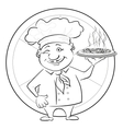 Cook with pizza outline vector image