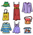 doodle of women object clothes style vector image