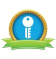 Gold key logo vector image