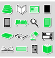 Reading books theme set of simple stickers eps10 vector image