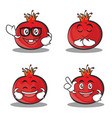 set of pomegranate cartoon character style vector image