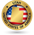 Utah state gold label with state map vector image