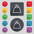 Weight icon sign A set of 12 colored buttons and a vector image