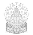 Zentangle Snow globe with Christmas fir tree vector image