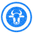 bull head rounded grainy icon vector image