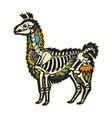 cartoon alpaca llama mexican sugar skull vector image