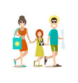 family beach holidays in flat vector image
