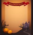 halloween night in ribbon vector image