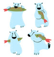 polar bears set with fish cute wild antarctic and vector image