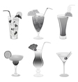 Set of grayscale cocktails vector image