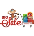 Big sale Monkey with purchases The 20 discount vector image