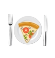 pizza on a plate with fork knife vector image