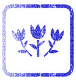 tulip flowers framed textured icon vector image
