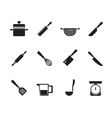 Silhouette Cooking equipment and tools icons vector image