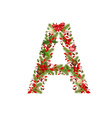 christmas floral tree letter A vector image