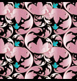 3d baroque damask seamless pattern black floral vector image