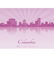 Columbia skyline in purple radiant orchid vector image