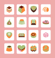 Set icons of Delicious Chocolate Candy sweet food vector image