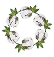 Watercolor cotton wreath vector image