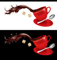 coffee in red cup on white and black background vector image vector image