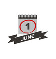 1 june calendar with ribbon vector image
