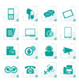stylized contact and communication icons vector image vector image