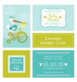 Baby Shower or Arrival Card with Stork vector image